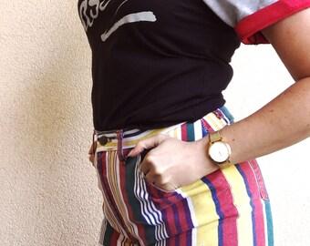 90s Vintage Bold Color Striped Shorts | Size 28