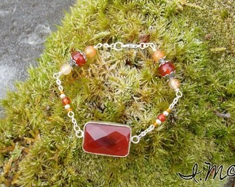 Orange Agate and carnelian stone bracelet.