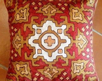 100% Silk embroidered handmade Kashmiri Cushion cover.