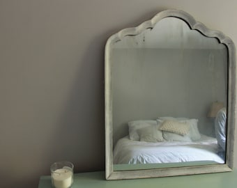 Large Silver and Gray Vintage Inspired Mirror