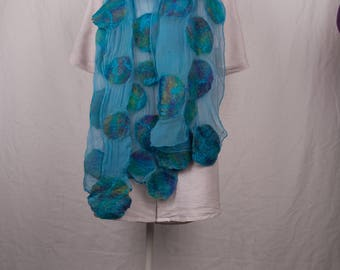 Nuno felted scarf, silk and merinowool in turqoise with blue/green/yellow