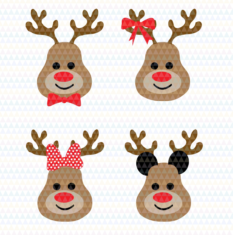 Reindeer svg clip art overlay Christmas cut file Rudolph svg