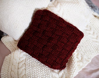 Marsala Cable Knit Pillow Cover, Bordeaux Chunky Knitted Pillow Case, Sweater Knit Cushion Cover