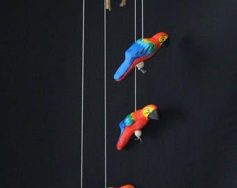 Ceramic multicolor hanging parrots for balconies and porch, Handmade. Beautiful wood sound. Artesanía Paraguaya
