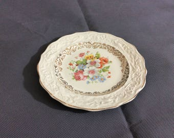 Vintage Stetson Warranted 22 kt Gold Trimmed Bread Dish Multicolored Floral China 636R Made in USA