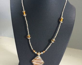 Clear and Brown Beaded Sister Necklace