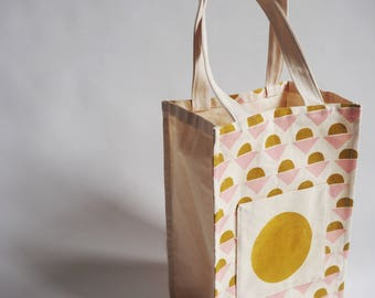 Hand made screen printed mustard and pink patterened tote bag