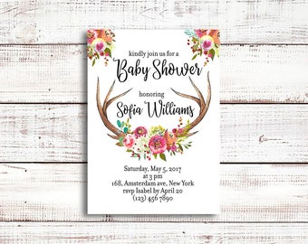 Antler baby shower invitation printable, pink girl woodland theme, oh deer party invite, Florals, tribal boho, rustic, printable baby shower