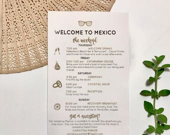 Destination Wedding Guest Trip Itinerary, PRINTABLE OR PRINTED