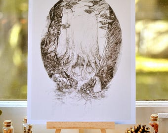 The Spring - woodland art print - pencil illustration