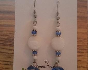 Swirled Sky Blue Glass Bead Dangle Earrings