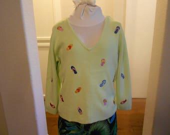 Carole Little  women's V-neck sweater green 3/4 sleeve size L