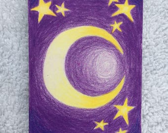 Original Art Card - Moon and Stars