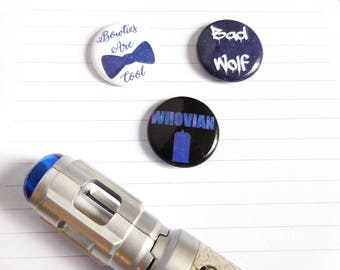 Doctor Who Whovian Bad Wolf Buttons Pins Button Set of 3