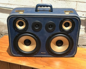 Bluetooth Portable Speaker Wireless Rechargeable Vintage Suitcase Boom Box