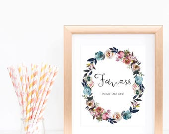 Bohemian Baby Shower Favors Sign Printable Watercolor Flowers Wreath Boho Baby Party Signage Instant Download Floral Favor Sign Wedding LF1