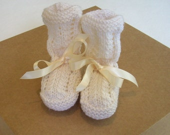 Hand knitted baby boots, woollen booties, baby shower, baby gift, Christening gift, lacy baby boots, vintage pattern baby boots