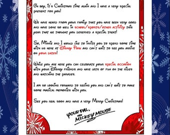 Personalised Christmas Letter From Mickey Announcing Your Trip - Digital Download