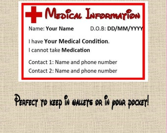 Personalised Medical Information Card