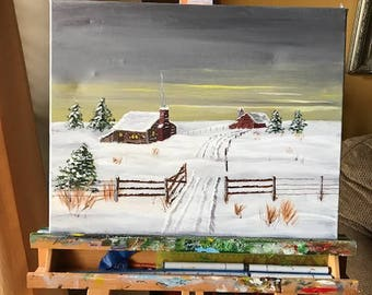 Farm on Prairie in Winter, Acrylic Painting, Landscape Nature