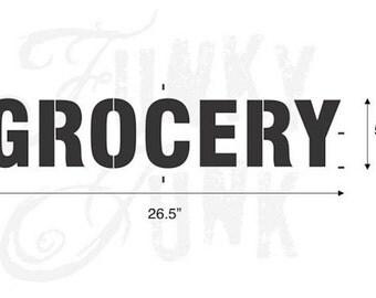 Funky Junk Stencil - Grocery - Furniture or Wall Stencil