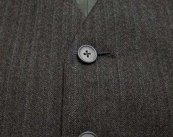 Vintage Brown HERRINGBONE Wool Vest sz 46 waistcoat WEDDING