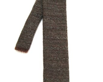 Vintage Skinny Tweed Square Tie 1960s