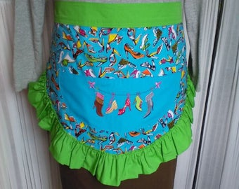 Bright Green and Bright Blue Hostess Styled Half Apron
