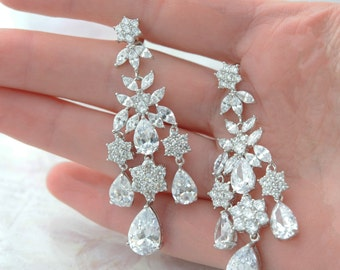 Bridal Chandelier Earrings CZ Bridal Earrings Chandelier Crystal Earrings Long Sparkle Earrings Chandelier Zirconia Earrings Bridal Jewelry