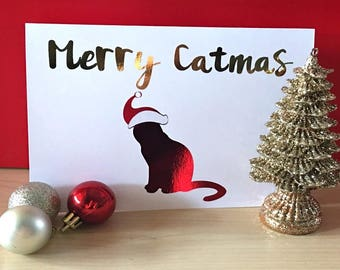 Cat Christmas Card - Merry Catmas Card - Funny Christmas Card - Unique Christmas Card - Cat Lovers - Christmas Cards with Cats
