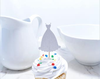 White Dress Cupcake Topper, (12ct), Bridal Shower Decor, Wedding Dress Cupcake Toppers, Cupcake Toppers, Engagement Party Decor, Wedding