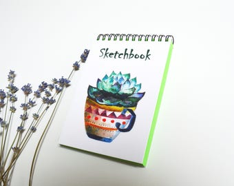 Lime green cactus art cactus succulent green sheets notebook sketchbook writing journal  winter cute gift succulent art Illustration