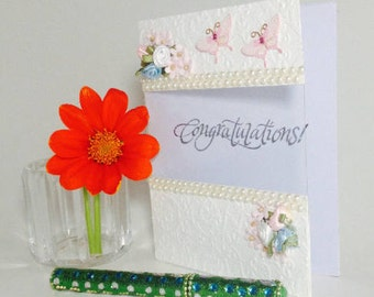 Congratulations Embossed and Embellished A2 Card with See-through Message Area