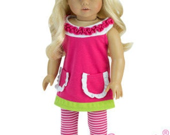 Ruffle A-Line Doll Dress with Striped Leggings