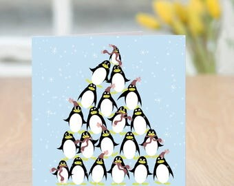 Penguin Tree Quirky Christmas Card
