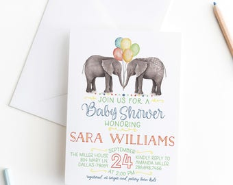 Gender Neutral Baby Shower Invitation Elephant Baby Shower Invitation Couples Baby Shower Twins Baby Shower Printable Baby Shower Invite