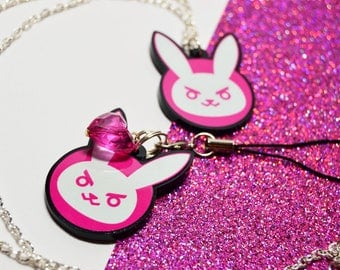 Overwatch * D.Va Bunny * Necklace or Phone Charm * Computer Games Gamer Cute Quirky Geek Nerd