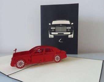 Rolls-Royce Car Pop up Card Birthday- Congratulations- Blank-New Car-Drivng Test (sku109)