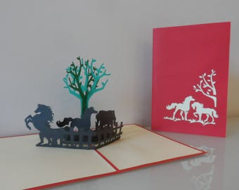 Horses Pop up Card Birthday- Well Done- Congratulations- Blank (sku158)