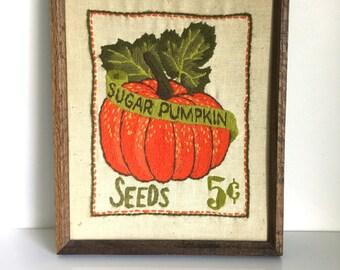 Sugar Pumpkin Seeds framed crewel / embroidery National Paragon Corp. No. 0922