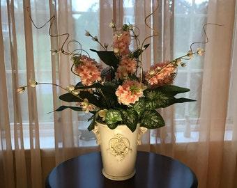 Large Pink Floral Arrangement, Silk Flowers & Tall White Elegant Ceramic Vase