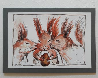 Hand-painted greeting card squirrel
