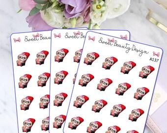 Cute Sloth Movie Night Planner Stickers, Movie Date Night Stickers, Cute Sloth Sticker, Planning Stickers, Planner Accessories