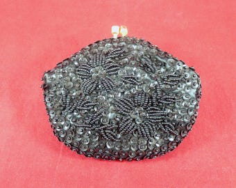 Vintage black beaded coin purse
