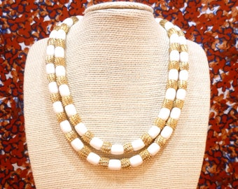 Vintage double stranded beaded Trifari necklace - white and gold