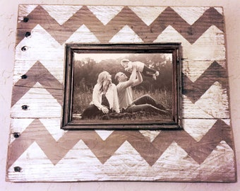 hand painted chevron design wood frame
