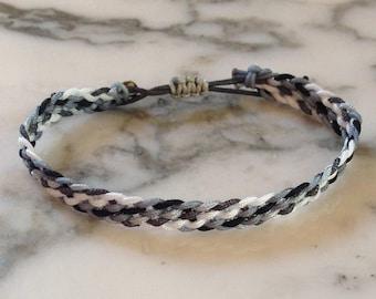 Blue/Gray Braided Friendship Bracelet with Macrame Clasp