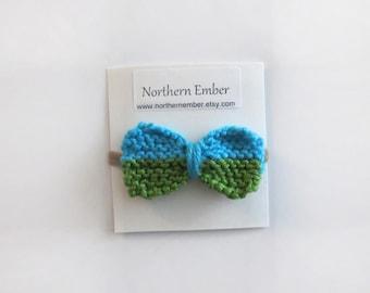 Baby Knitted Bow / Girls Hair Bow / Nylon Headband / Baby Girls Headbands / Knitted Bow Girl / Baby Shower Gift / Toddler Headband Baby Bow