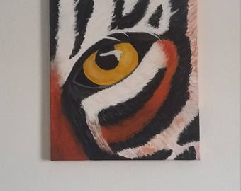 Tiger Canvas Art // Room Decor // Eye of the Tiger // Jungle Art // Gift