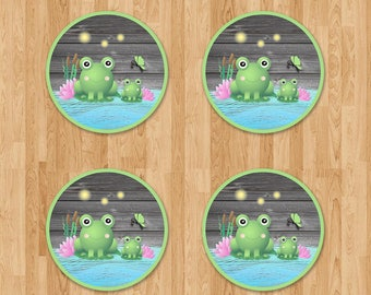 Frog Baby Shower Cupcake Toppers - Reclaimed Wood - Baby Frog Stickers - Baby Shower Toppers - Froggy Themed Shower - Frog Party Favors